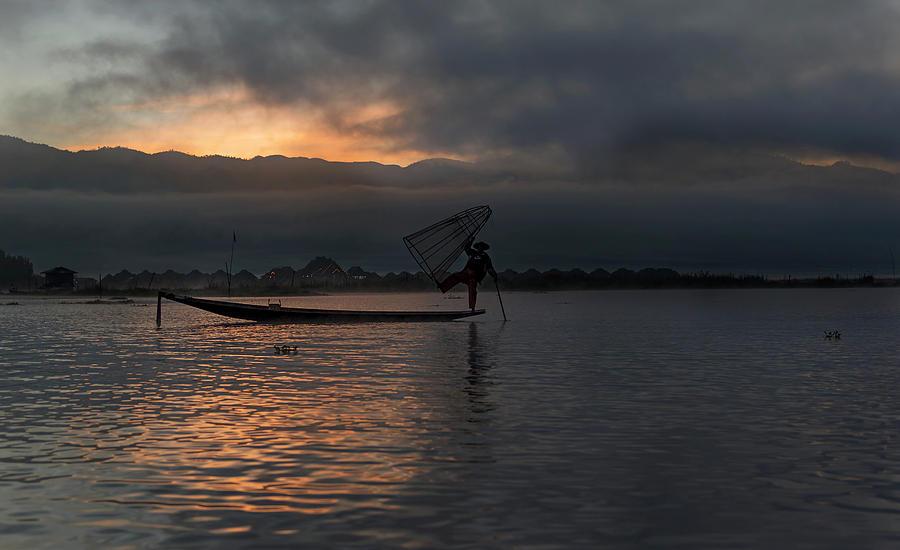 Myanmar Photograph - Inle Fisherman At Sunrise by Pradeep Raja PRINTS