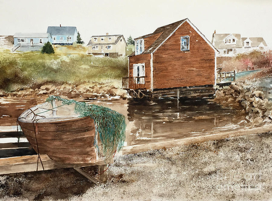Nova Scotia Painting - Inlet At Peggys Cove by Monte Toon
