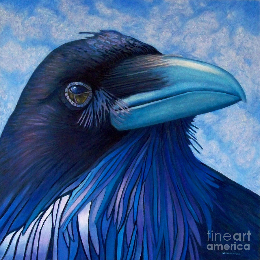 Raven Painting - Inner Knowing by Brian  Commerford