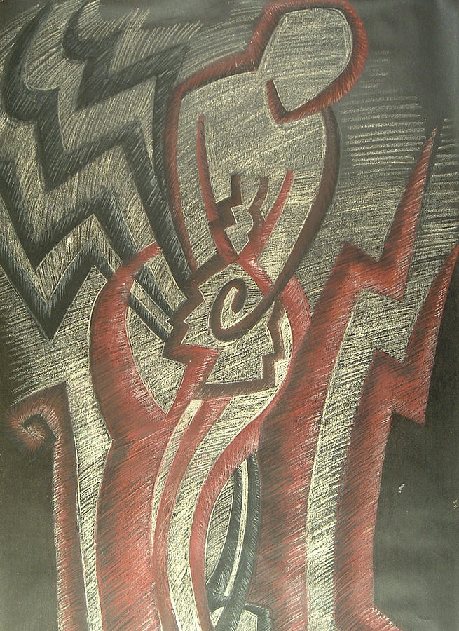 Abstract Drawing - Inner Turmoil  detail by Donald Burroughs