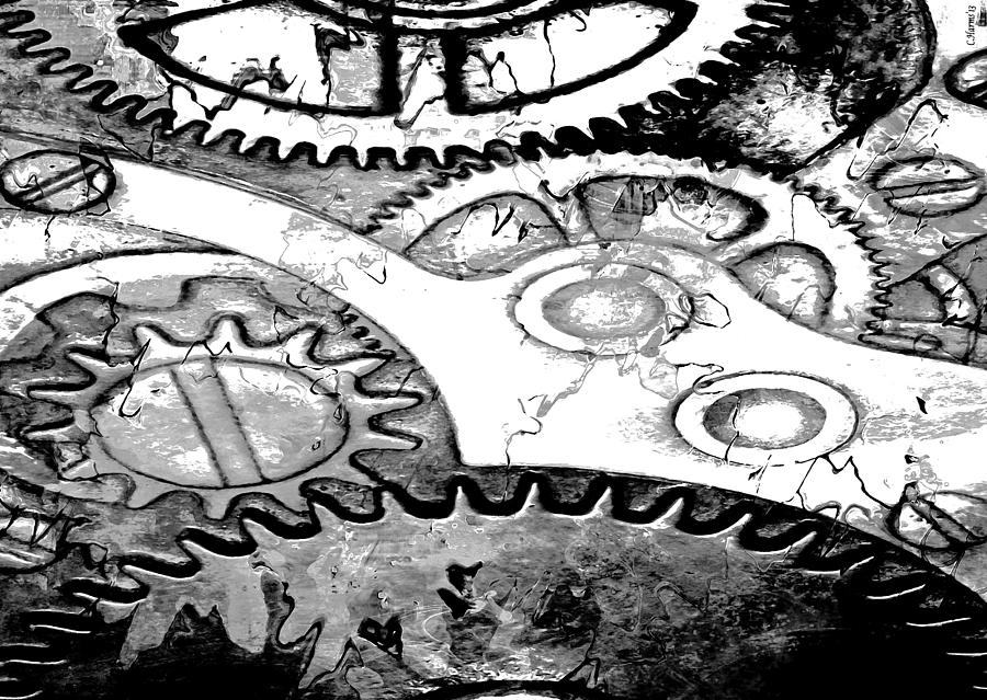 Inner Workings Black And White by Catherine Harms