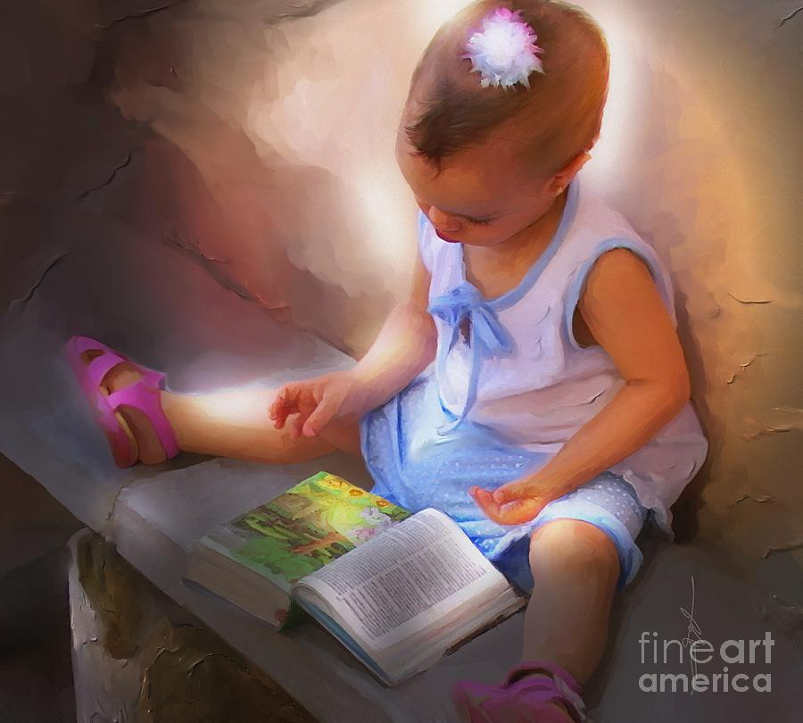 Portrait Painting - Innocence And The Bible - Cuba by Bob Salo