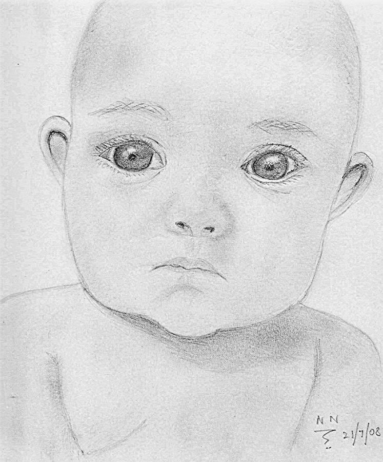 Baby Drawing - Innocence by Nanditha Nayak
