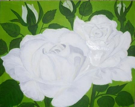 White Roses Painting - Innocence -white Roses by Elizabeth Janus