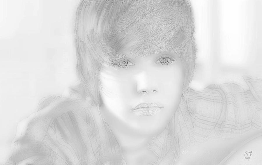 Artist Drawing - Innocent Eyes Of Justin. by Erwin Verhoeven