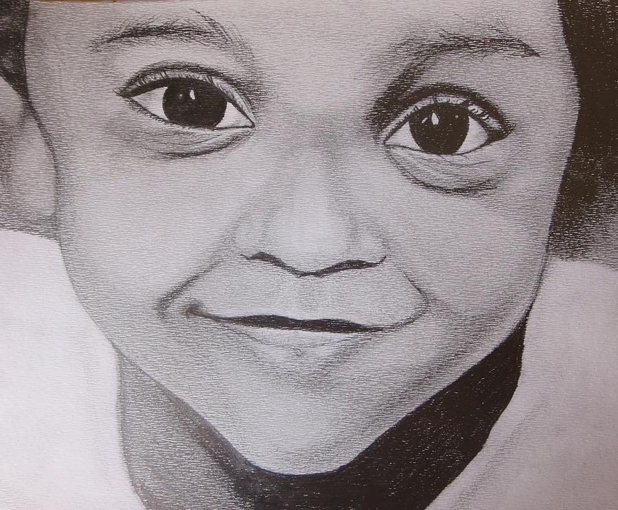 Pencil Drawing - Innocent Smile by Aswathy Gopalakrishnan