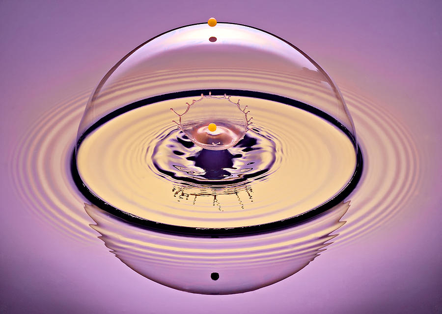Water Drop Collision Photograph - Inside A Saturn Bubble by Susan Candelario