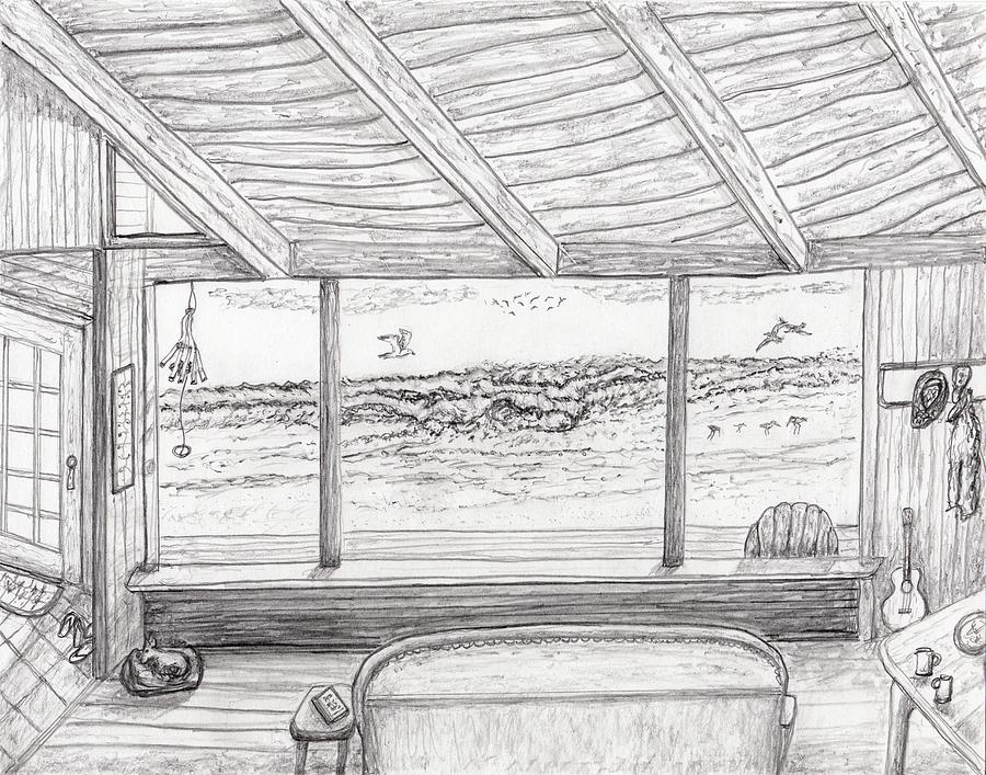Inside Beach Cabin Drawing By Jim Taylor
