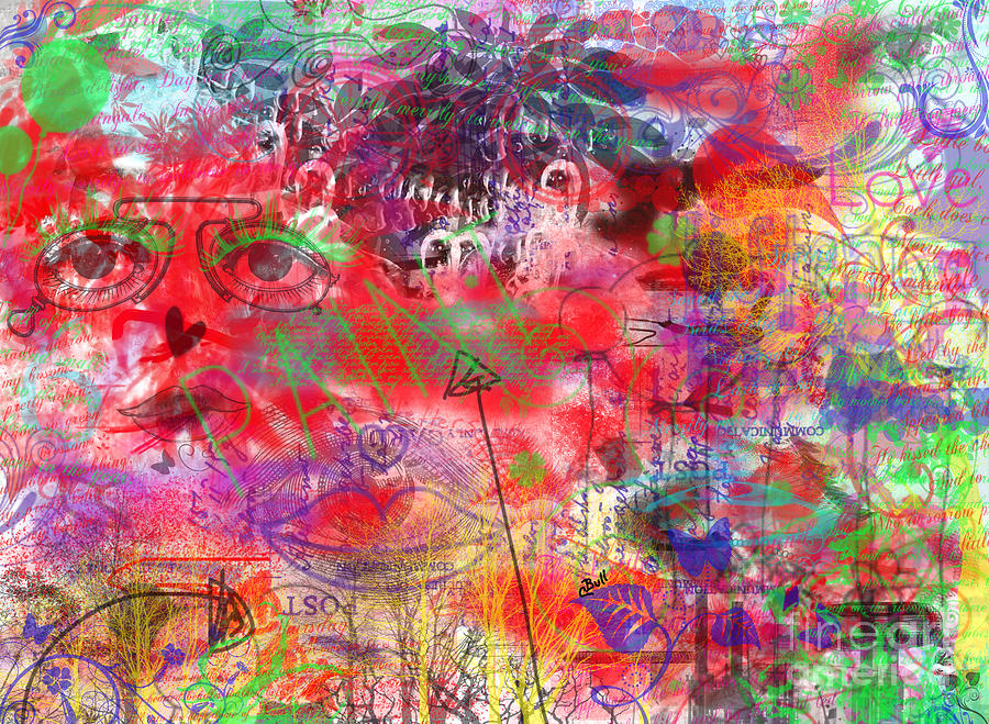 Abstract Digital Art - Inside Her Head by Claire Bull
