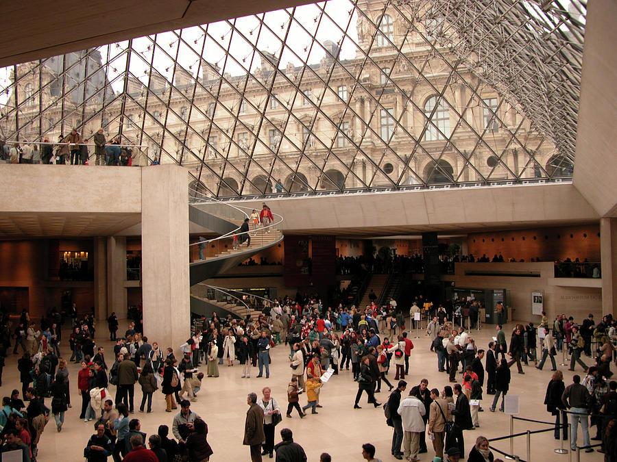 Paris Photograph - Inside Louvre Museum Pyramid by Mark Czerniec
