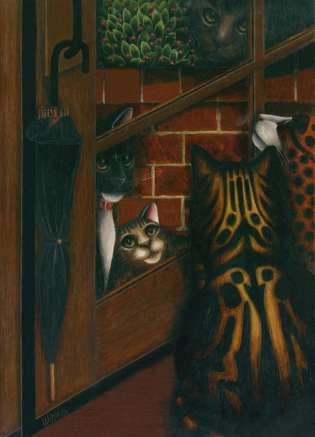 Black And White Tuxedo Cat Painting - Inside Outside Cats by Carol Wilson