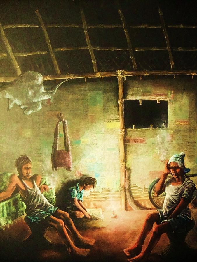 Reading Painting - Inside Refugee Hut by Pralhad Gurung