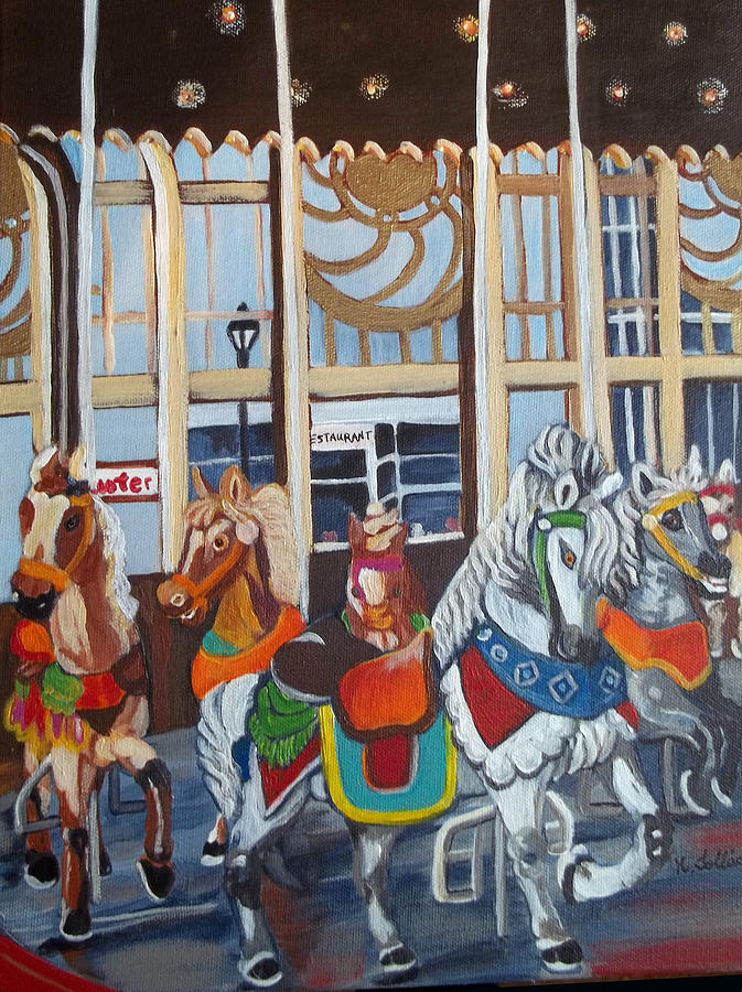 Carousel Painting - Inside The Carousel House by Norma Tolliver