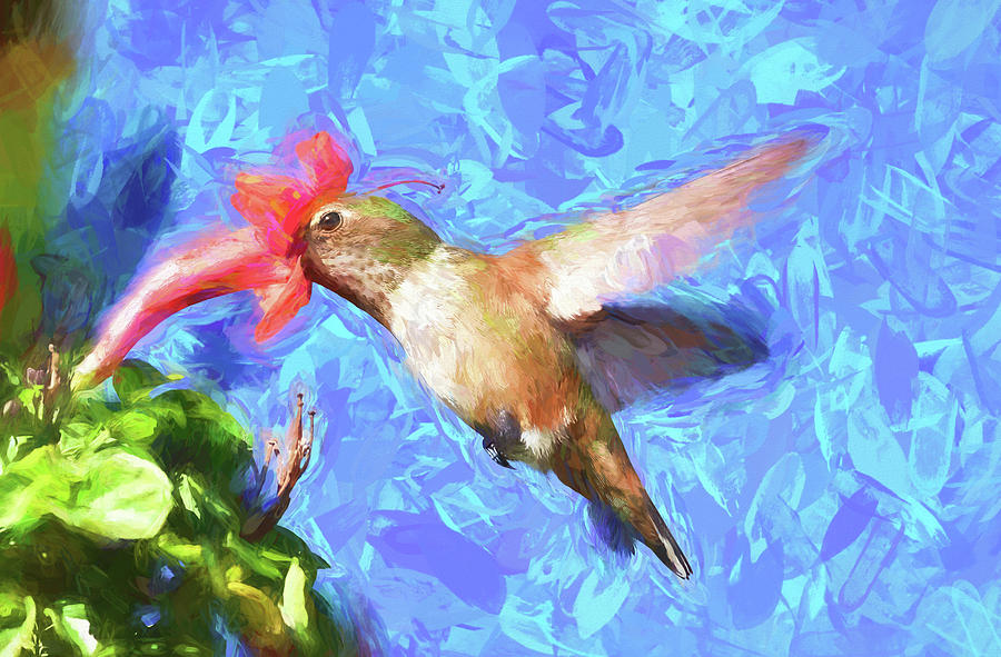 Hummingbird Digital Art - Inside The Flower - Impressionism Finish by Linda Brody