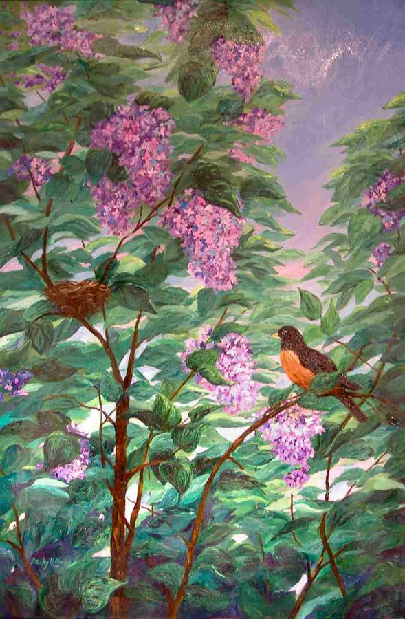 Lilacs Painting - Inside The Lilac Bush by Becky Manges