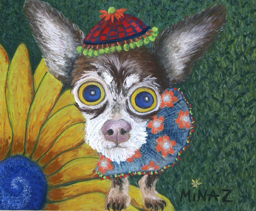 Chihuahua Painting - Inside Van Goghs Garden Sits Sunflower Sally by Minaz Jantz
