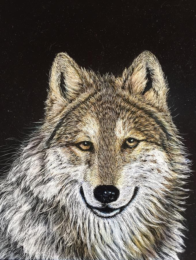 Wolf Painting - Insight by Diane Sleger