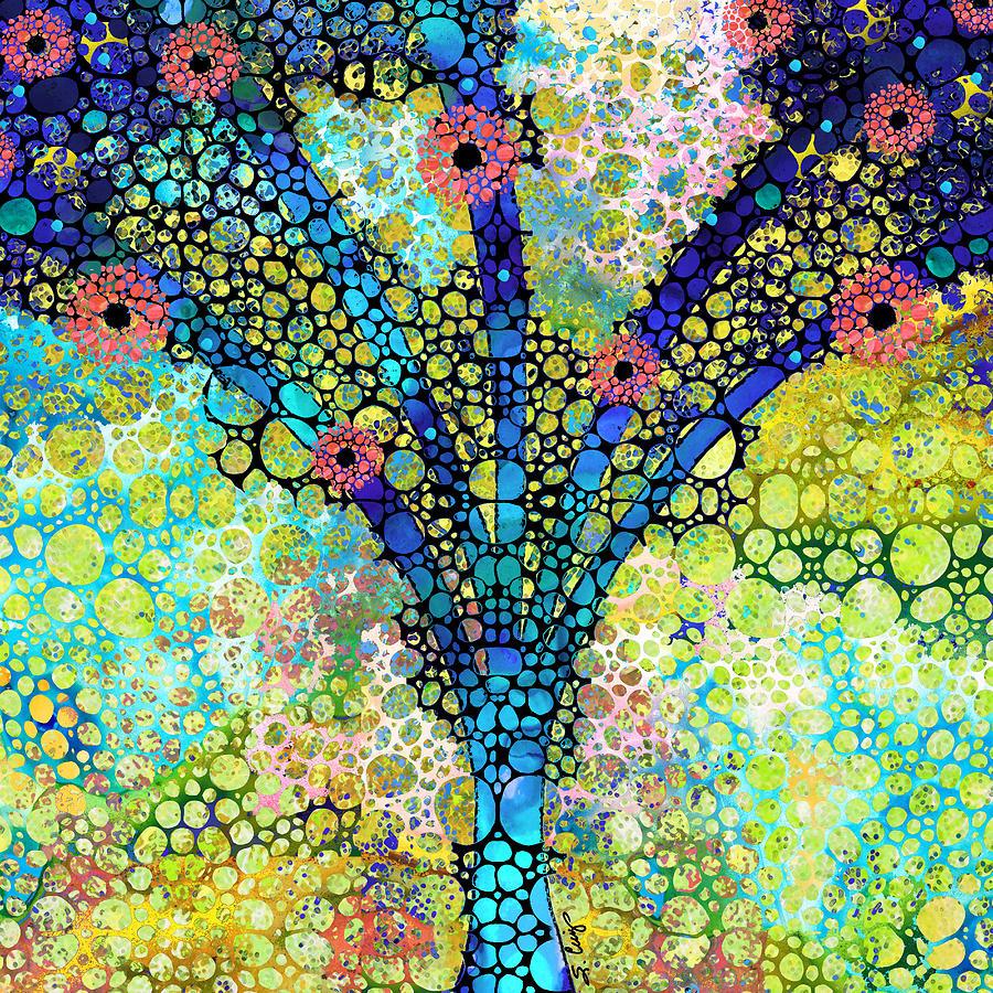 Tree Painting - Inspirational Art - Absolute Joy - Sharon Cummings by Sharon Cummings
