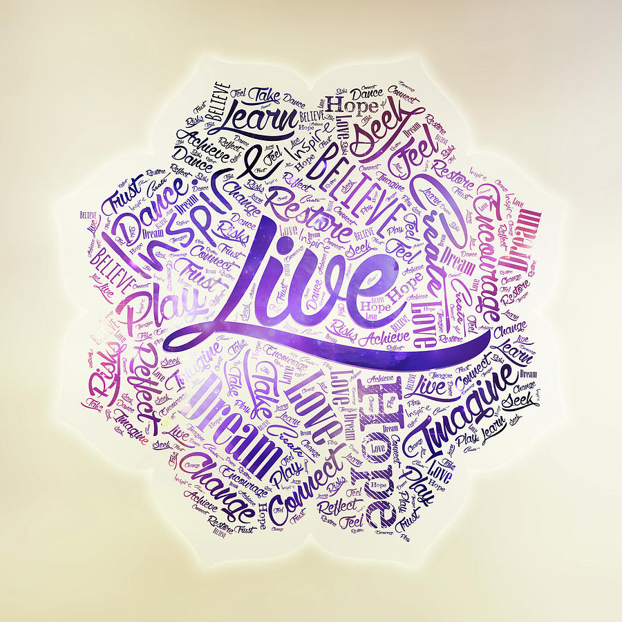 Inspirational Motivational Word Cloud Art In Lotus