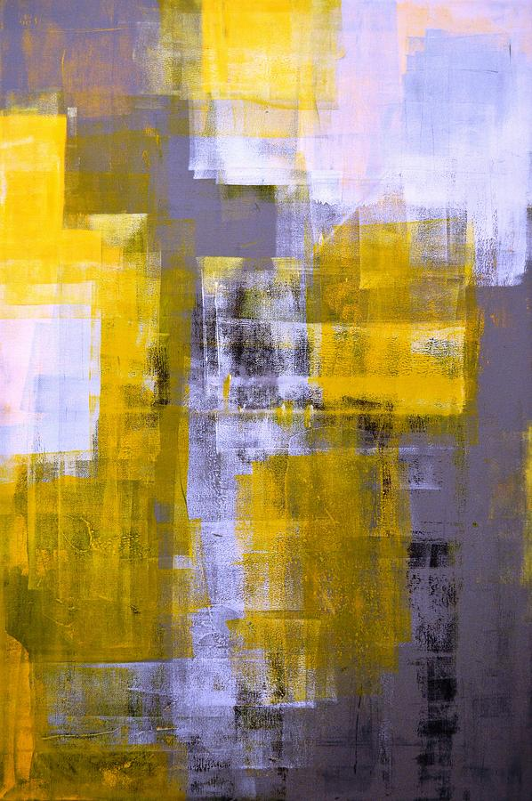 White Painting - Instant - Grey And Yellow Abstract Art Painting by  CarolLynn Tice