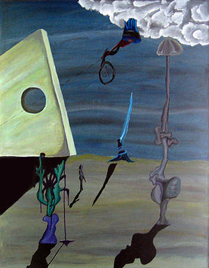 Surreal Landscape Painting - Instruments Of Extension by Jody Brusca