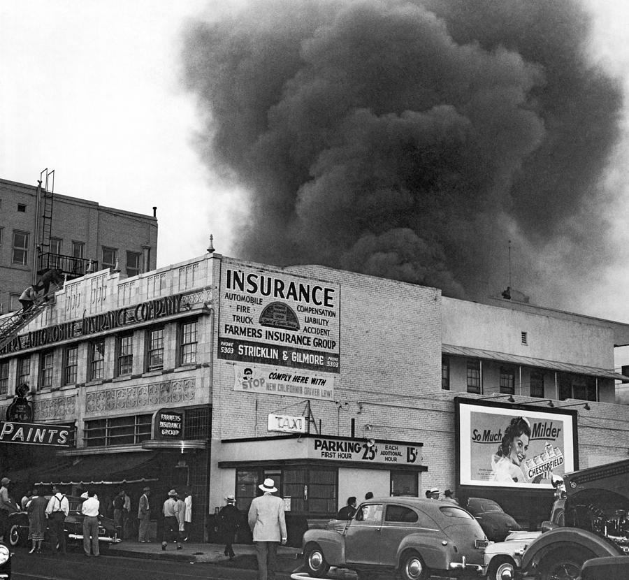 1940s Photograph - Insurance Company Fire by Underwood Archives
