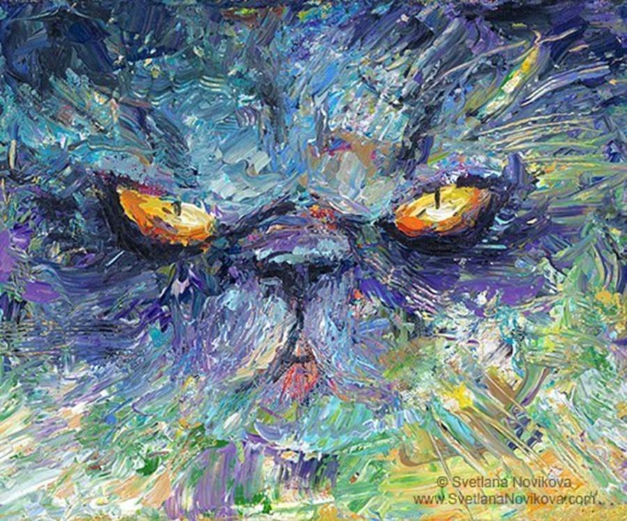 Impasto Photograph - Intense Palette Knife  Persian Cat by Svetlana Novikova