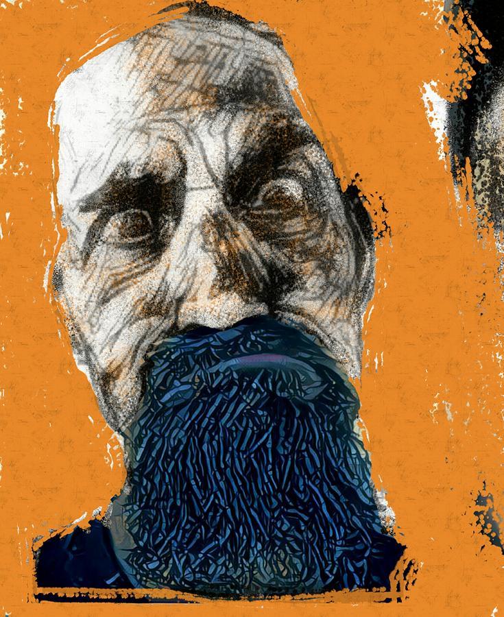 Intense Painting - Intense portrait bulging eyes blue beard orange and sketch painting vibrant vivid expression beast friendly by MendyZ