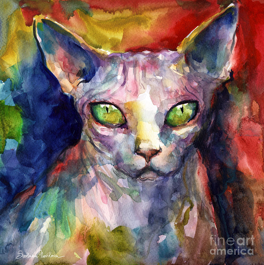 intense watercolor Sphinx cat painting by Svetlana Novikova