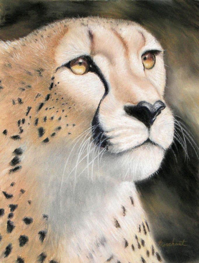 Cheetah Painting - Intensity - Cheetah by Linda Merchant
