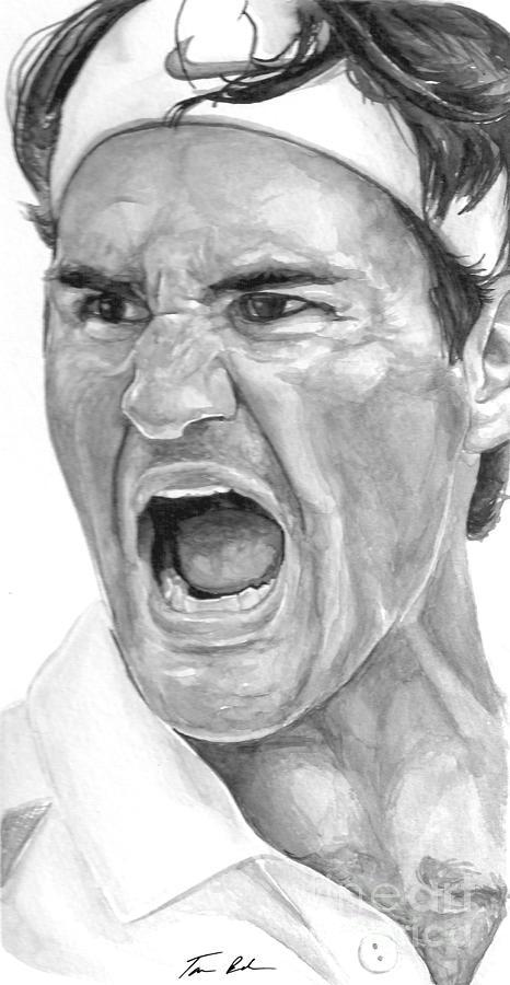 Federer Painting - Intensity Federer by Tamir Barkan