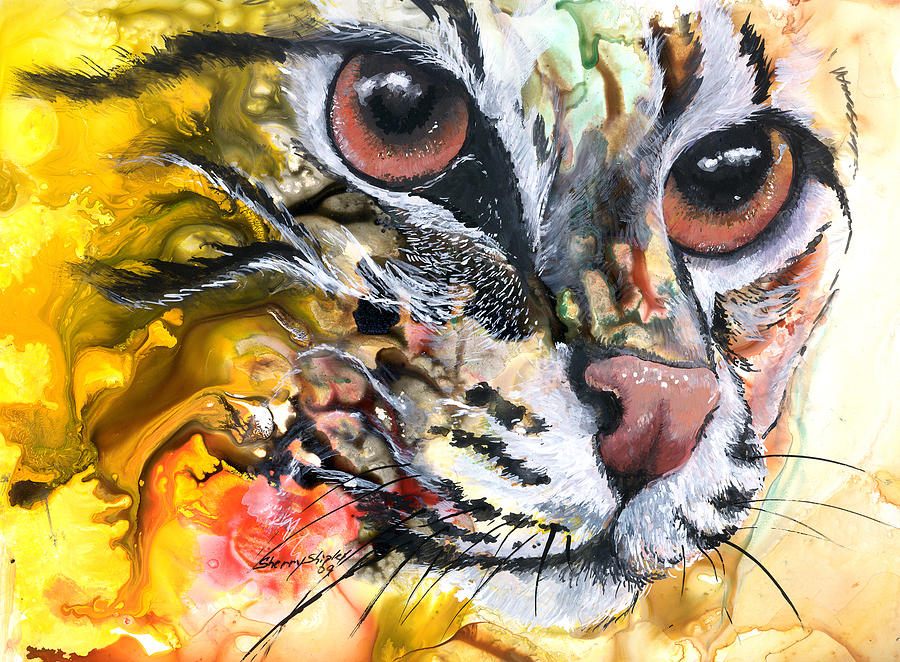 Cat Painting - Intensity by Sherry Shipley