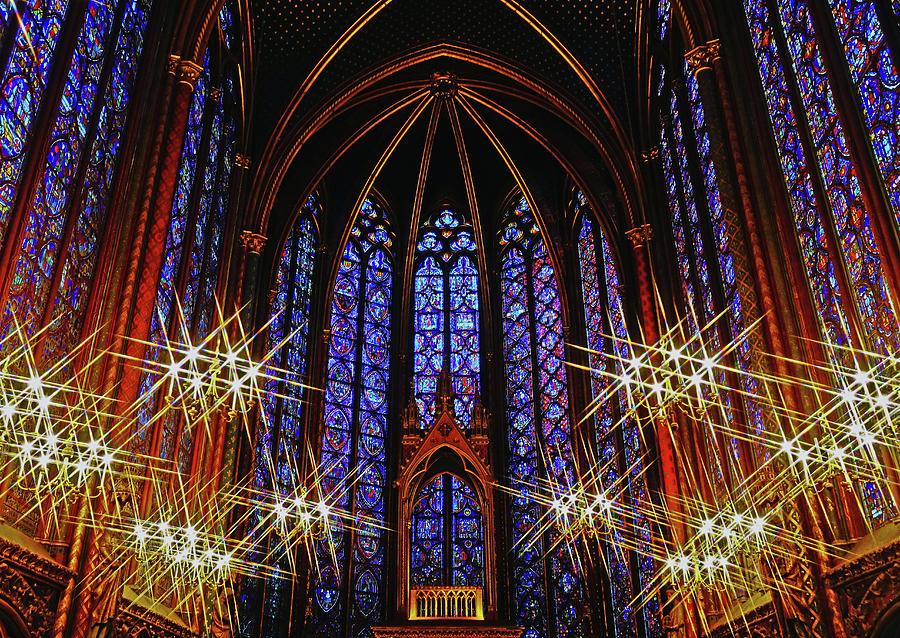 Interior Beauty Of Sainte Chapelle Church In Paris France