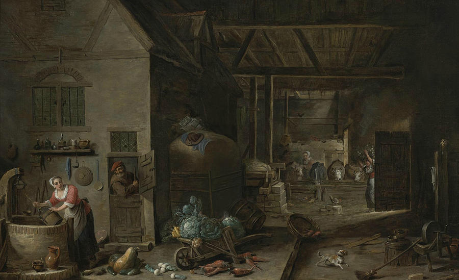 Flemish Painters Painting - Interior Of A Farmhouse With Figures And Animals by David Teniers the Younger