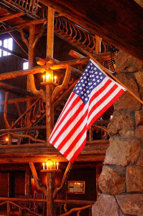 American Flag Photograph - Interior Of Old Faithful Inn by Beth Collins