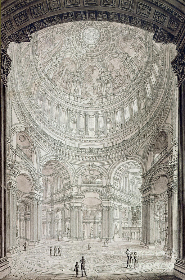 Wren Drawing - Interior Of Saint Pauls Cathedral by John Coney
