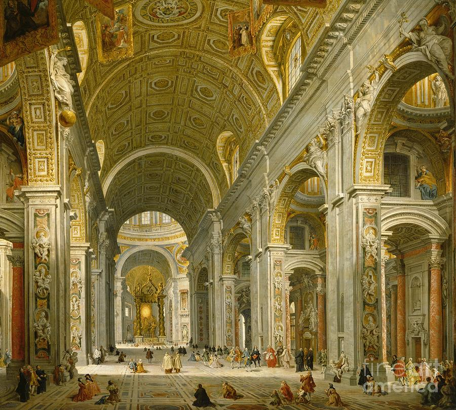 Interior Painting - Interior of St. Peters - Rome by Giovanni Paolo Panini