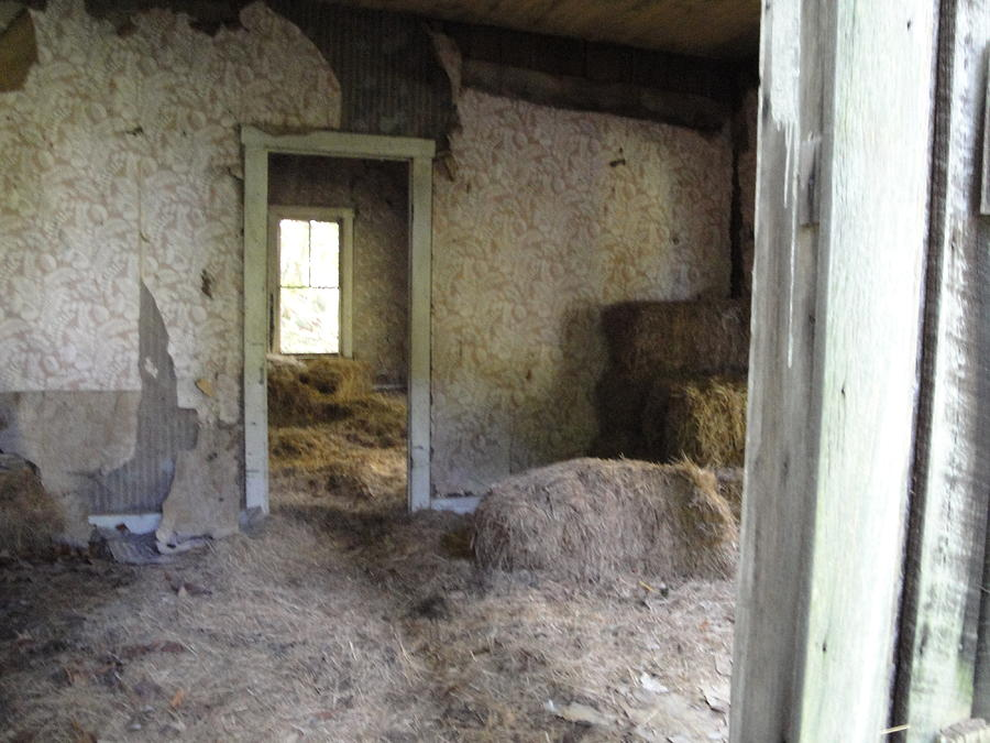 Abandoned House Photograph - Interior With Hay Bales by Terry  Wiley