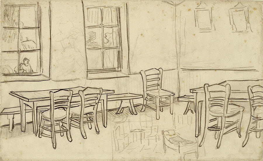 Interior With Tables And Chairs And A Sketch Of The Bedroom 1890 Painting By Vincent Van Gogh