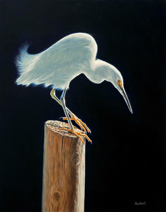 Egret Painting - Interlude - Snowy Egret by Linda Merchant