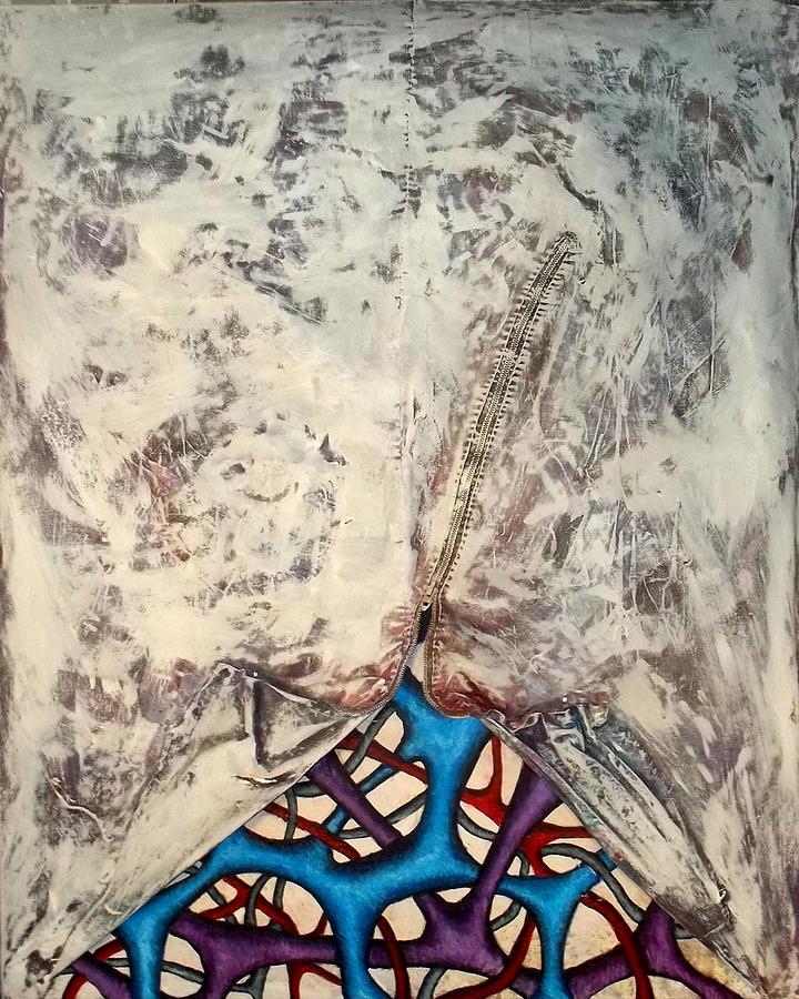 Zipper Painting - Internally Unzipped by Nancy Mueller