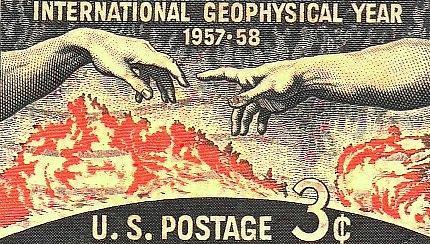 Memorabilia Digital Art - International Geophysical Year Stamp by Robert Grubbs