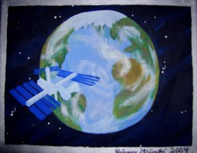 International Space Station Orbits Mother Earth Painting by Ginger Strivelli