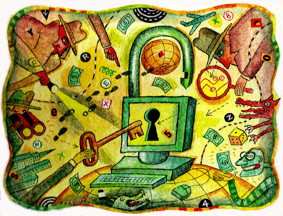 Internet Security And Hackers Painting by Leon Zernitsky