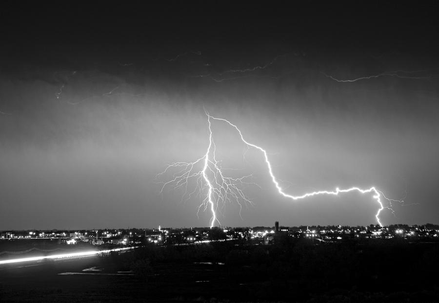Lightning Photograph - Intersection Black And White by James BO  Insogna
