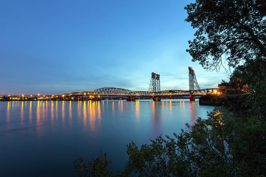 Interstate Photograph - Interstate Bridge Over Columbia River At Dusk by David Gn