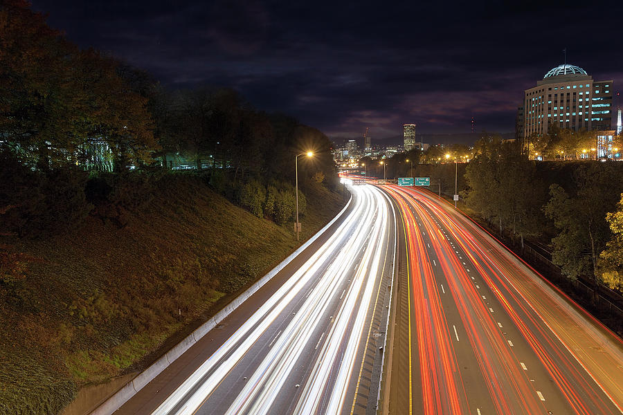 Interstate Photograph - Interstate Freeway Through Portland Oregon Downtown by David Gn