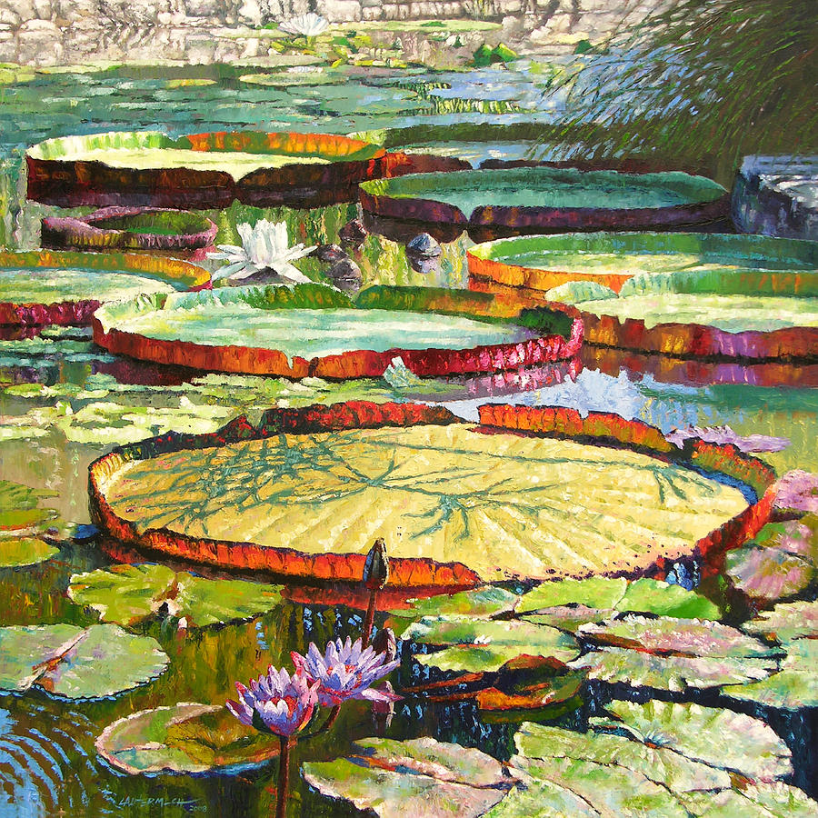 Garden Pond Painting - Interwoven Beauty by John Lautermilch
