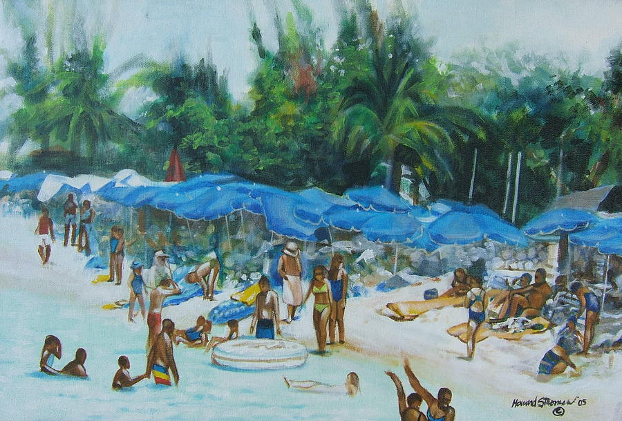 At The Beach Painting - Intimacy on Vacation by Howard Stroman