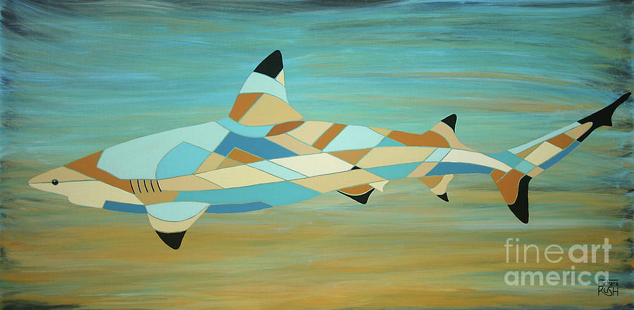 Into the Blue I Shark Painting by Barbara Rush